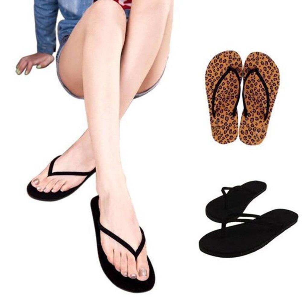Fashion new Women Summer Slipper Leopard Black Flat Heel Flip Flops Casual Sandal Beach Slipper Female PU Home Shoes