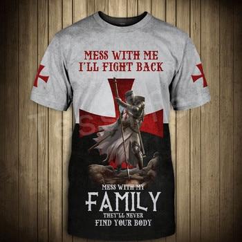 Tessffel cavalier Knights Templar Armor Causal Streetwear Harajuku 3DPrint Short Sleeve Summer Man's top T-shirt Men/Women A-2 1