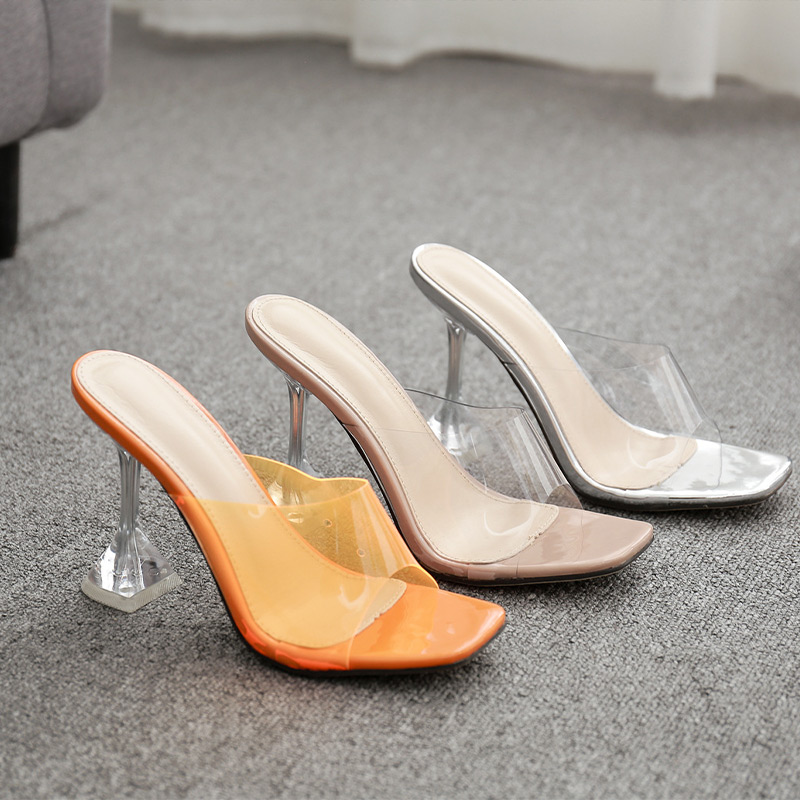 Women Sexy Sandals High Heels Shoes Ladies Fashion Slippers Plus Size Square Toe Transparent Pumps New Female Summer Comfort 6
