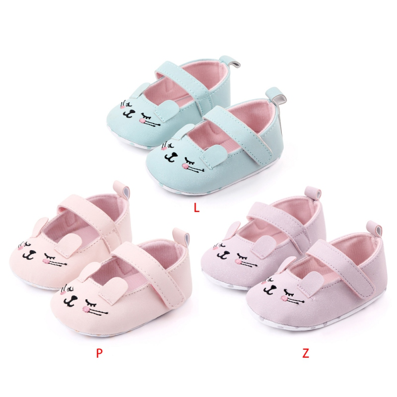 New Toddler Baby Girls Flower Cartoon Rabbit Shoes PU Leather Shoes Soft Sole Crib Shoes Spring Autumn First Walkers 0-18M