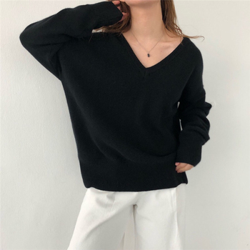 Ailegogo New 2020 Autumn Winter V-Neck pullover Warm Women Sweaters Fashion Sexy Casual Korean Style Female Jumpers SW7113 6