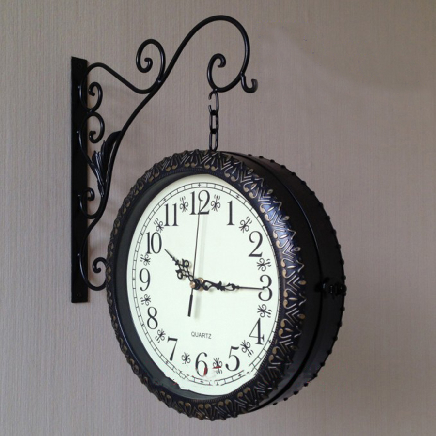 Rétro horloge murale créative silencieuse Style européen horloge murale grand Reloj Pared Madera idée cadeau montre murale décoration de la maison DD50WC