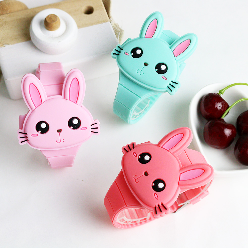 LED Cartoon Children Watch Lovely Rabbit Rubber Electronic Girls Kids Wrist Watches Ladies Flip Cover Boys Students Clock Gifts