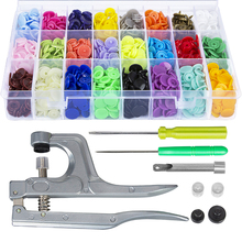 Snap Fastener Pliers Kit + 360 Sets T5 Plastic Resin Snap Button Press Stud Cloth Buttons Embroidery Sewing Tools eyelet button punch diy manual fastener press pliers cloth button snap button making tool