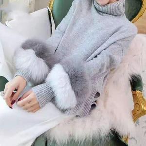 Image 4 - 女性の冬のタートルネックニットセーター Lrregular 裾ルースプルオーバー長袖フェイクミンクの毛皮のセータージャンパー