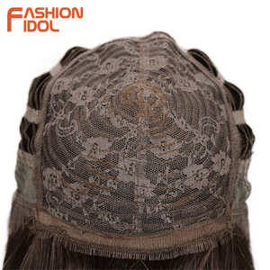 Image 5 - FASHION IDOL Short Bob Wigs For Black Women 14 inch Ombre 613 Blonde Linen Color Neat Fringe Straight Hair Synthetic Wig Cosplay