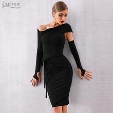 Adyce 2020 yeni sonbahar bandaj elbise kadınlar Vestidos seksi Hollow Out siyah Bodycon kulübü elbise ünlü abiye pist parti elbise