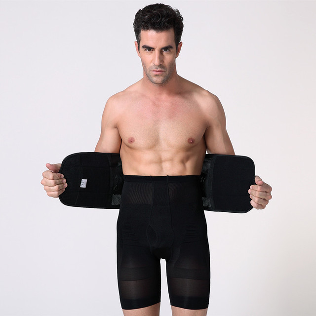 Men Compression Slimming Belts Body Shapers Belt Corset Fitness Girdle Waist Cincher Trimmer Abdomen Fat Burning Tummy Shapewear 2