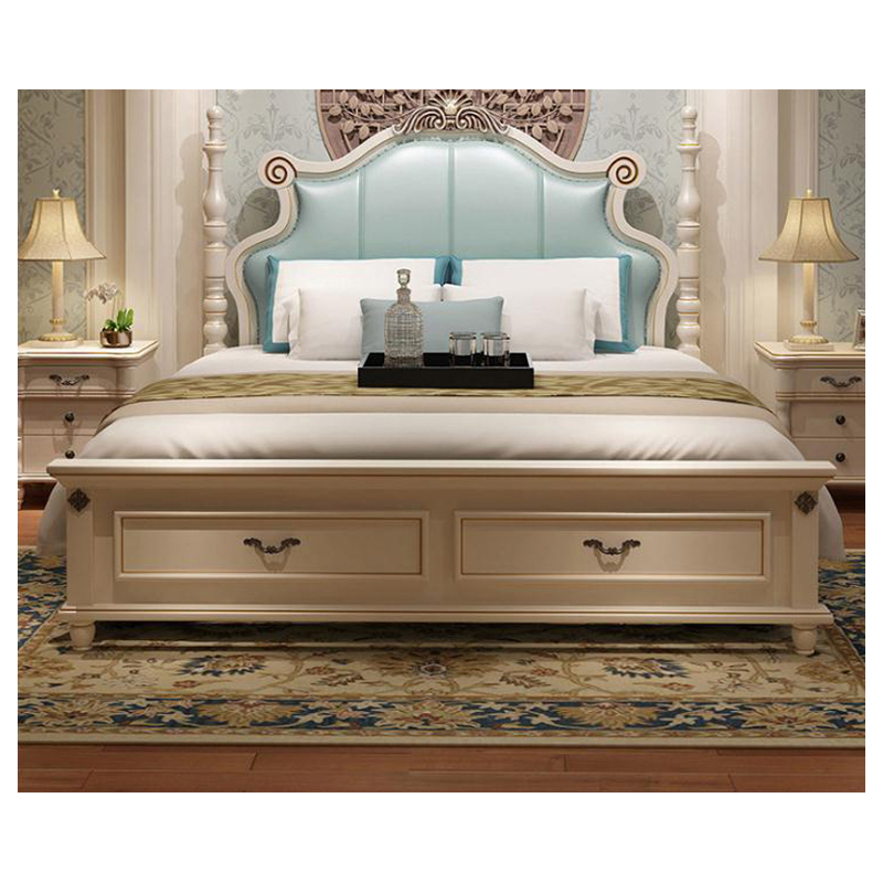 modern european solid wood bed Fashion Carved  leather  french bedroom furniture bng0011