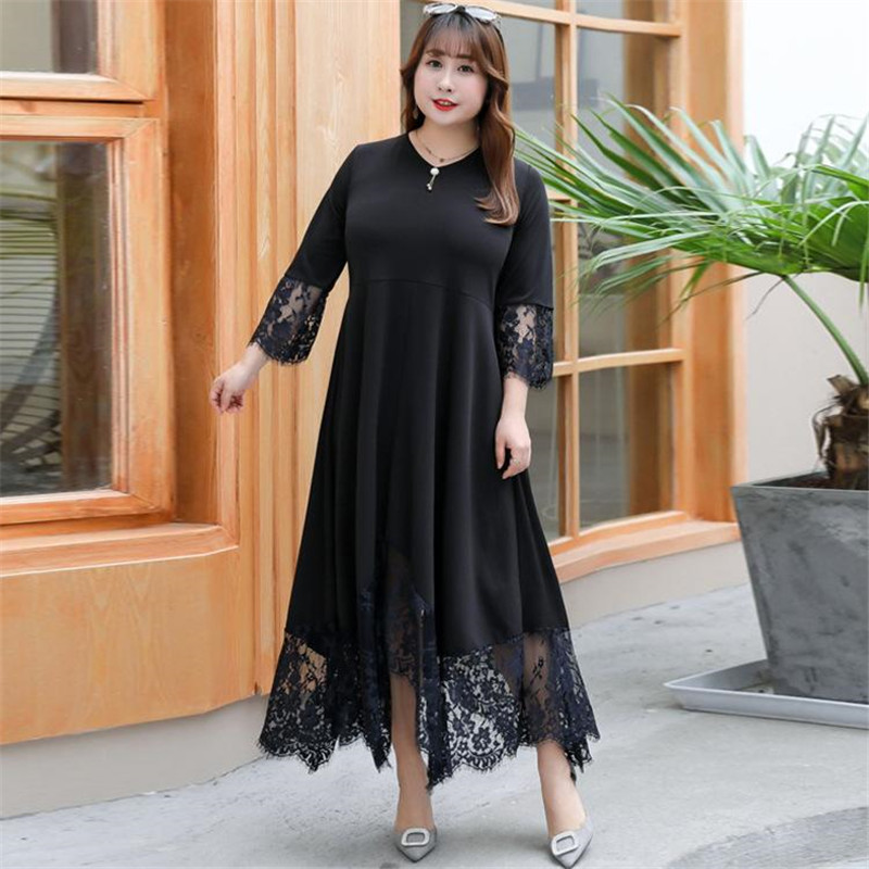 Large <font><b>size</b></font> Women Lace Long <font><b>Dress</b></font> Summer Casual <font><b>Plus</b></font> <font><b>Size</b></font> <font><b>7XL</b></font> 8XL Autumn Office Lady Elegant Evening Party Loose Maxi Vestidos image