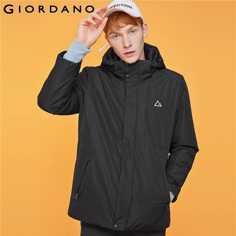 Giordano Men Coats Detachable Hood Stand Collar Coat Men Windproof Multi Pocket Zipper Fly Casaco Masculino 01079649