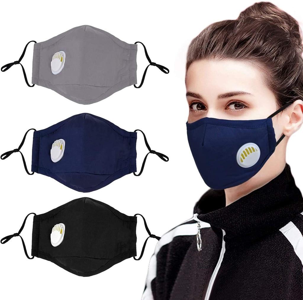 3PC Dust Mouth Masks Anti-pollution Dustproof Breathable Face Masks Adult Unisex Washable Reusable Mouth Face Masks Respirators