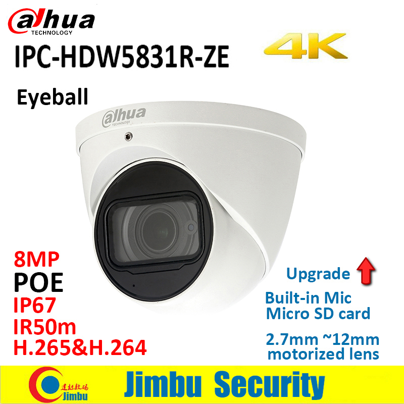 Dahua  IP camera  8MP  4K IPC HDW5831R ZE WDR IR50m Eyeball IP67 POE 2.7mm ~12mm motorized lens Built in Mic Micro SD slot 128GB|Surveillance Cameras| |  - title=