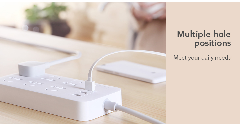 Original Xiaomi Mijia Power Strip Basic Version 6 Sockets With 3 5V 2.1A Fast Charging USB Ports White Mi Socket (3)