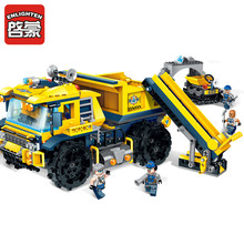 Legoingly 458pcs City Construction Engineering Technic Kyanite Squad Dump Truck Bricks Toy 4 Figure Building Blocks