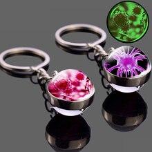 Светящиеся противораковые клетки, фото, стеклянный шар, брелок, кольцо для ключей, подвеска для сумки, продукты для исследования рака, подар...
