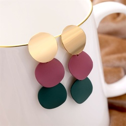 2020 Korean Round Colorful Alloy Drop Earrings for Women Geometric Statement 2 Color Earrings Jewelry Gifts