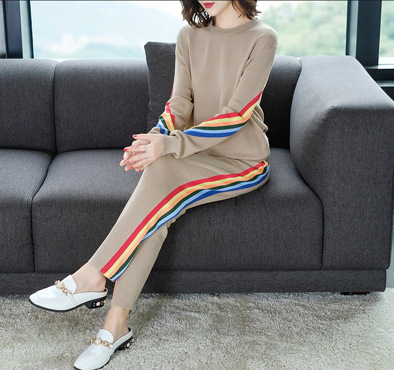 2019 Autumn Knitted Casual Striped Two Piece Sets Outfits Women Sweater And Pants Suits Fashion Elegant Korean Tracksuit Sets 40