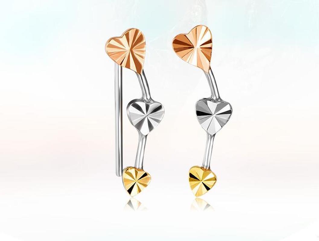 Trendy Diamond Carve Heart 18K True Real Solid Genuine Gold Tri-Tone Clip Piercing Earrings Women Girl Gift Party Fine Jewelry