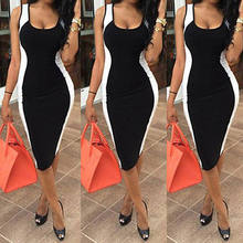 Sexy Patchwork Pencil Dress Women Sleeveless Bandage Bodycon Evening Party Club Mini Dresses Vistidos(China)