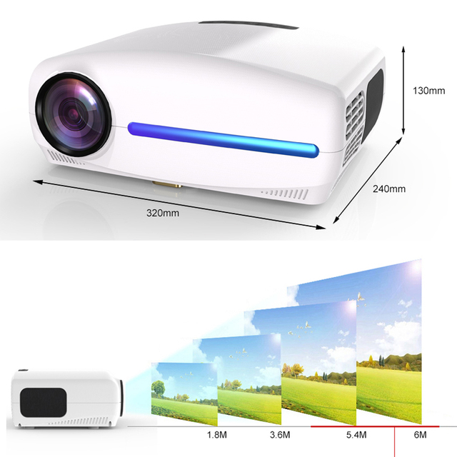 WZATCO C2 1920*1080P Full HD LED Projector with 4D Digital Keystone 6800Lumens Home Theater Portable HDMI Beamer LED Proyector 1