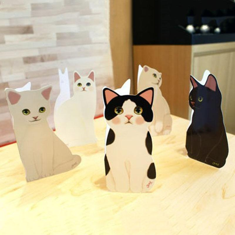 3D Lovely Cat Greeting Card Creative Blessing Festival Cat Random Cute pc Design Quality Invitations Card Color 1 Card Birt A3M8