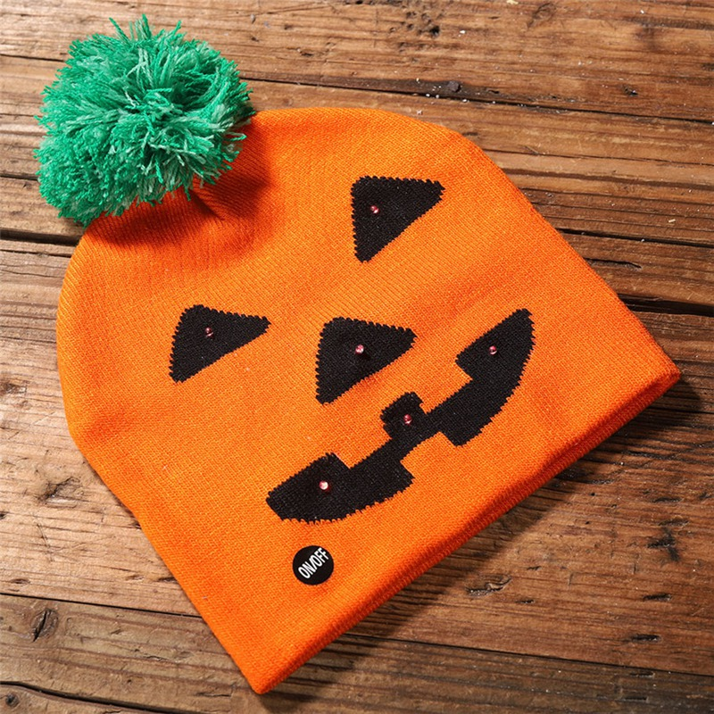 LED Halloween Glowing Knit Cap Hat Christmas Sweater Beanie Light Up Knitted Hat Halloween Adult Christmas Party