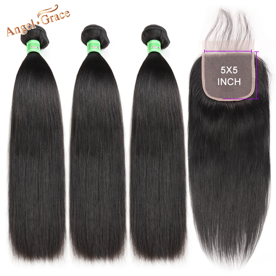 Angel Grace Hair Brazilian Straight Hair Bundles With 5x5 Lace Closure Remy Human Hair 3 Bundles With Closure Free Shipping