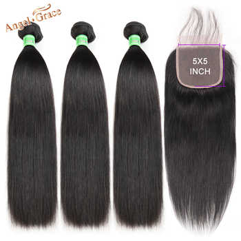 Angel Grace Hair Brazilian Straight Hair Bundles With 5x5 Lace Closure Remy Human Hair 3 Bundles With Closure Free Shipping - DISCOUNT ITEM  51% OFF All Category