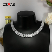 High-Carbon Diamond Necklace Fine-Jewelry 100%925-Sterling-Silver Sparkling Women OEVAS