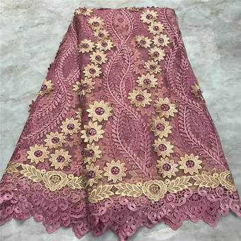 lace fabric african french lace fabric with stone 5yards cheaper embroidered nigerian lace fabrics for wedding PS-A18