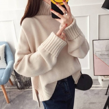 купить Korean High Collar Thick Warm Beige Knitted Sweater Women Top Autumn Winter Plus Size Loose Knit Turtleneck Pullover Ladies Jump в интернет-магазине