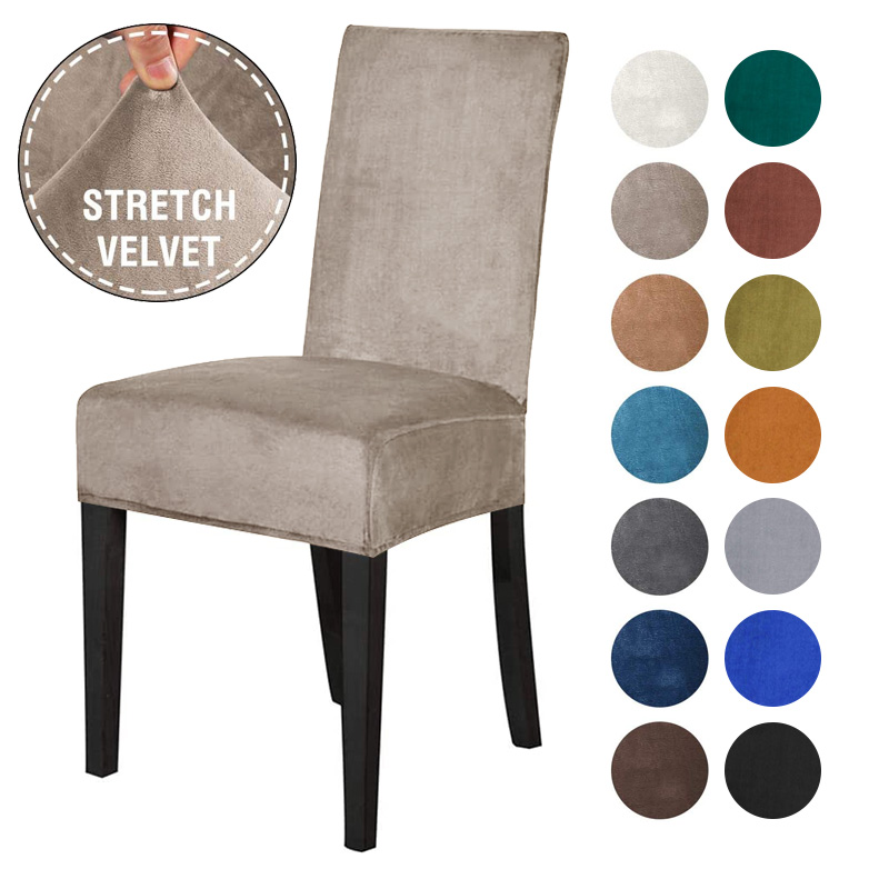 Spandex Elastic Velvet Dining Chair Cover 1 Chair And Sofa Covers