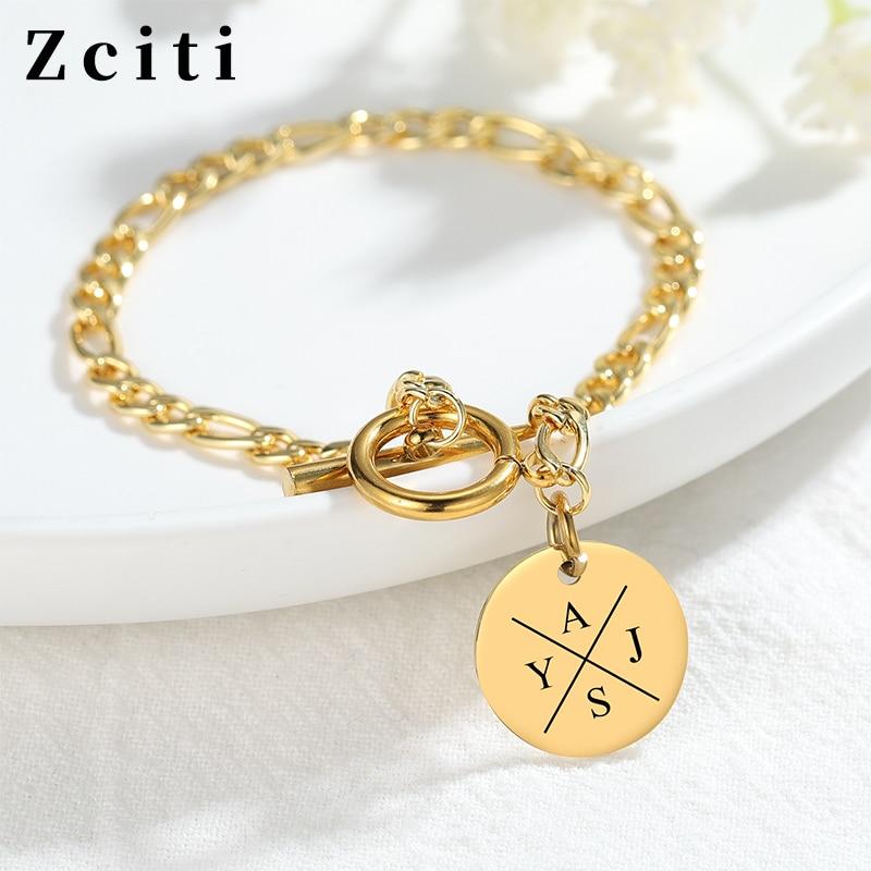 Round Pendant Engraving Letter Bracelet For Women Stainless Steel Custom Initial Name Bracelet Trendy Female Jewelry Hand Chain