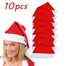цена на Clearance 10Pcs/Lot Unisex Adult Christmas Hat Red Santa Claus Novelty Hat Christmas Party Gifts Xmas Wholesale