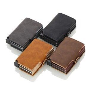 Image 4 - Casekey Anti theft Männer Brieftasche doppel Aluminium Leder Kreditkarte Halter RFID Metall Brieftasche Automatische Pop Up Geldbörse ID karteninhaber