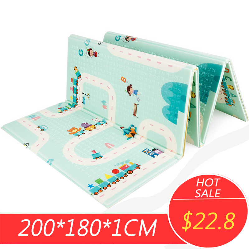 200x180x1cm Baby Climbing Play Mat Cartoon Reversible Portable Foldable Pad Xpe Puzzle Mat Floor Room Crawling Puzzle Mat