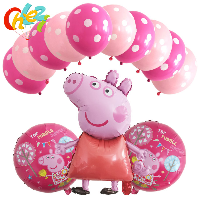 13 Pcs PEPPAPIG Foil Balloons Baby Birthday Party Decorations Kids Baloons Boy Girl Shower Helium Dot Latex Balloon Kids Toys