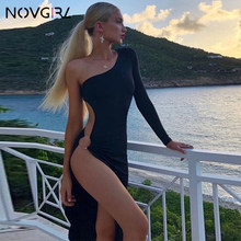 Novgirl One Shoulder Long Sleeve Metal Ring Hollow Out High Split Sexy Dress Women Irregular Bodycon Clubwear Party Midi Dress(China)