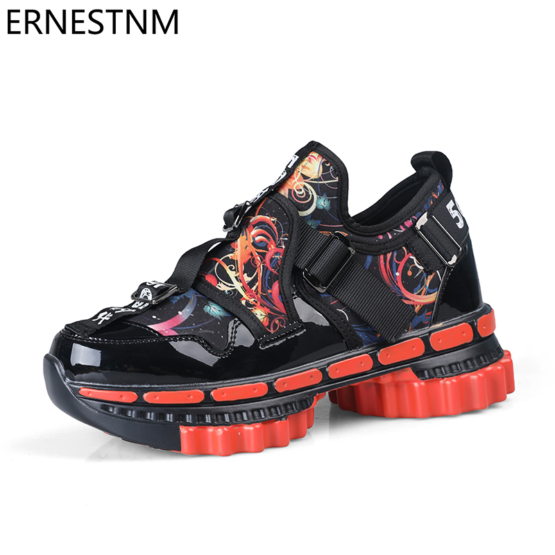 ERNESTNM Platform Sneakers Women Gold 2020 Men Chunky Sneakers Fashion Shoes Black Wedge Men Breathable Running Colorful Sneaker
