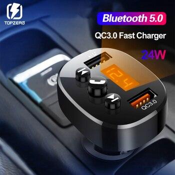 Unversal Charger Car Bluetooth مرسل FM QC 3.0 Dual USB Charger Audio MP3 Player TF Card Music Car Car Car Phone Car Charger