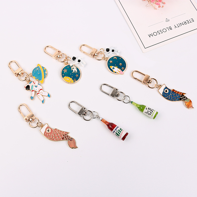 Goldfish Wine Bottle Key Ring Space Craft Astronaut Rocket Planet Keychain Spaceman Universe Stars Metal Keyring Key Chain Gifts