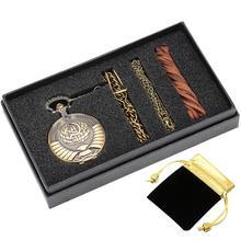 Soviet Communist Symbol Pocket Watch Chain Watches fob Clock Gift Set Quartz Pendant Watch Birthday Gift relogio de bolso