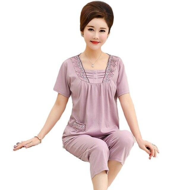 Loungewear 여성 여름 홈 반바지 우아한 레이스 Applique 칼라 플러스 사이즈 여성 잠옷 라벤더 컬러 파자마 반바지 여자