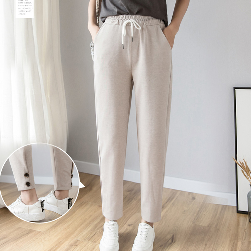 Women Pants 2019 Spring Summer Female Fashion Solid Elastic High Waist Casual Trousers Loose Harem Pants Sweatpants Pencil Pant