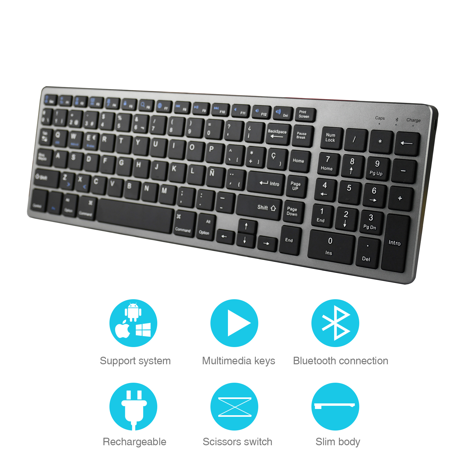 Zienstar Spanish Wireless Bluetooth Keyboard For Ipad,MACBOOK,LAPTOP,Computer And Android Tablet ,Rechargeable Lithium Battery