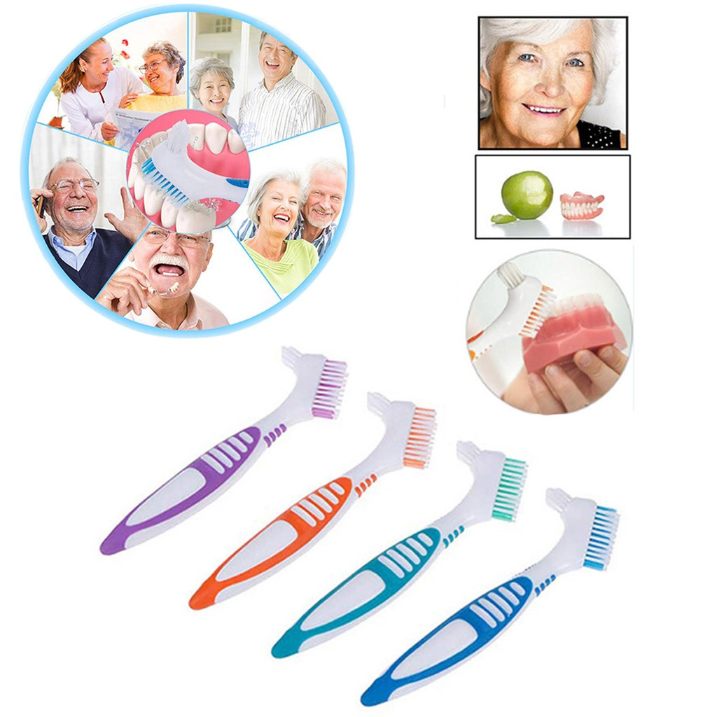 High Quality Denture Brush 4Pc Denture Teeth Brush Easy Grip Handle Double Sided Toothbrushes Oral Tooth Care Oct