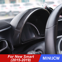 Car Instrument Dash board Panel Cover Housing Trim Frame Carbon Fiber Decoration For New Smart 453 fortwo forfour Accessories