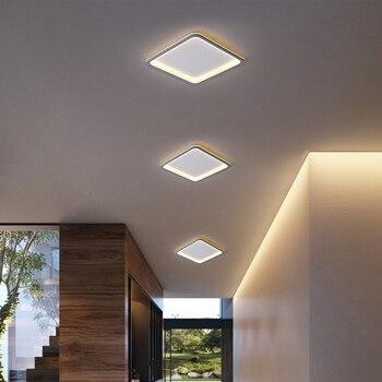 20/30/40/50/60cm White or Grey Color Square Living Room Bedroom Master Room Chandelier Home Deco Modern Corridor 90-260V Fixture