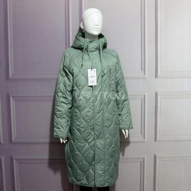 New Autumn Winter Women Vintage Green Parka Jacket Coat Casual Warm Loose Hooded Overcoats Female Oversize Long Outwear Ladies 2